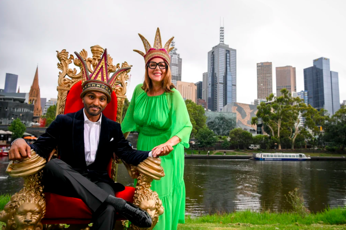 'Mum can finally be proud': Julia Morris and Nazeem Hussain crowned Moomba queen and king