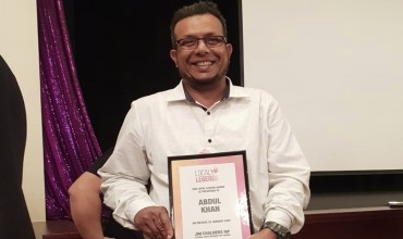 Abdul Samim, Fundraising & Community Relations Officer for Islamic Relief Australia, presented with Local Legends award
